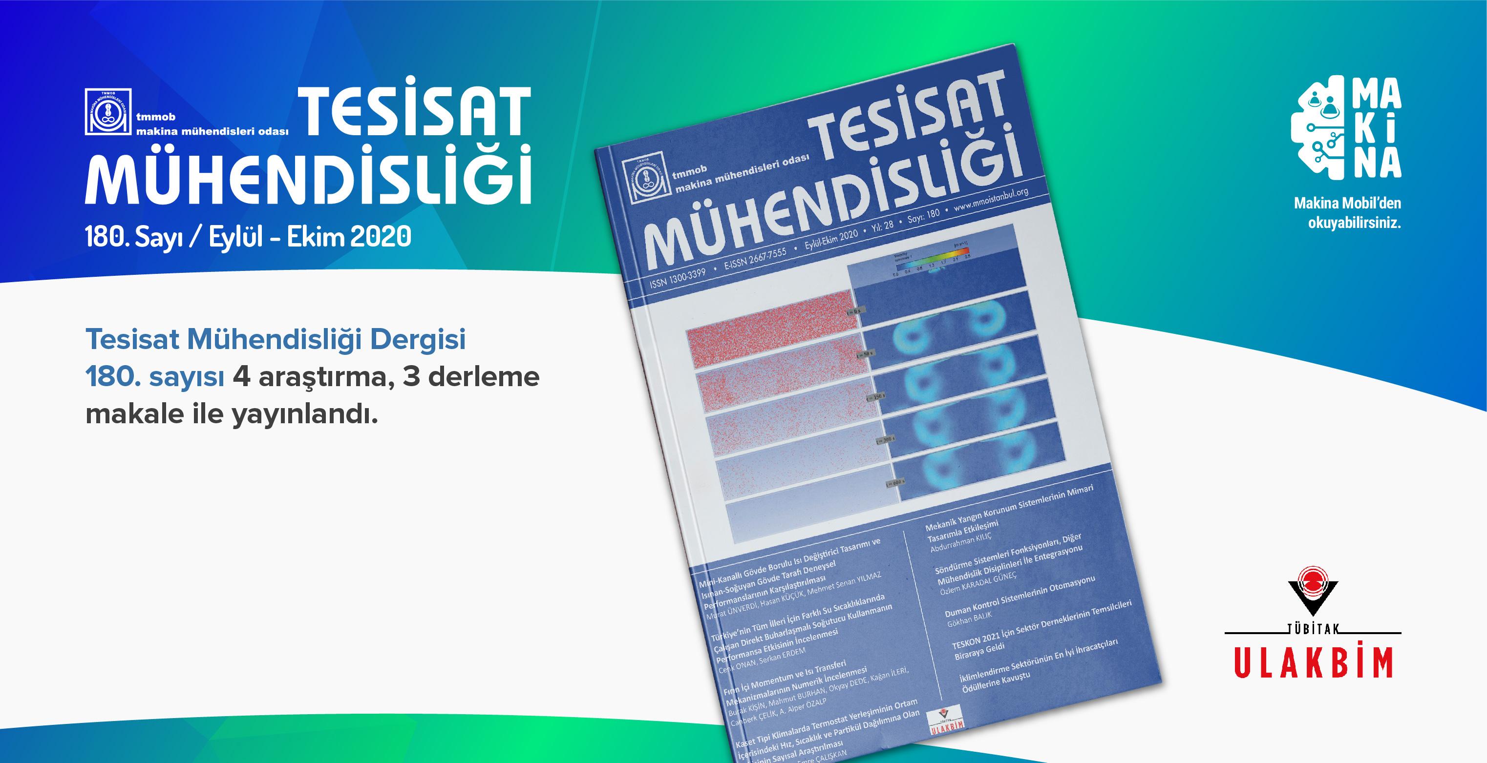 Tesisat Mühendisliği Dergisi 180. Sayısı Yayınlandı!