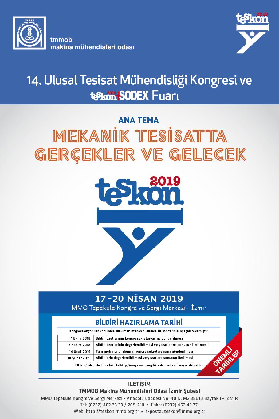 14. Ulusal Tesisat Mühendisliği Kongresi ve Teskon+sodex Fuarı (İzmir)
